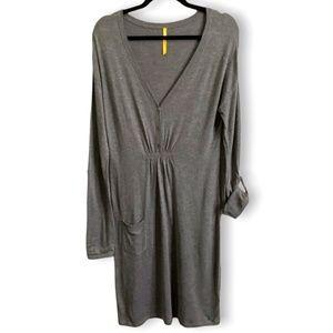 LOLE Grey Viscose Blend Vee Neck Casual Dress L